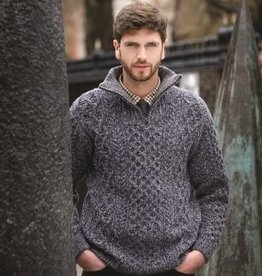 SWEATERS CABLE TROYER HALF ZIP SWEATER