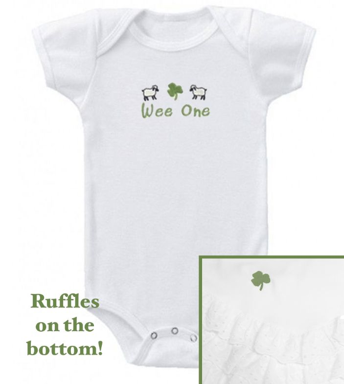 """BABY CLOTHES """"WEE ONE"""" ONESIE WITH RUFFLES"""