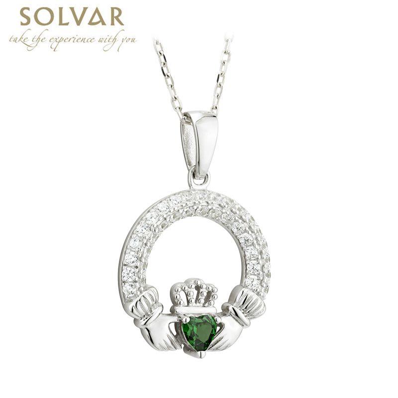 Pendants necklaces solvar sterling crystal claddagh birthstone aloadofball Choice Image