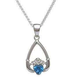 "PENDANTS & NECKLACES ""TEAR-DROP"" BIRTHSTONE CLADDAGH PENDANT"