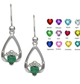 "EARRINGS ""TEAR-DROP"" BIRTHSTONE CLADDAGH EARRINGS"