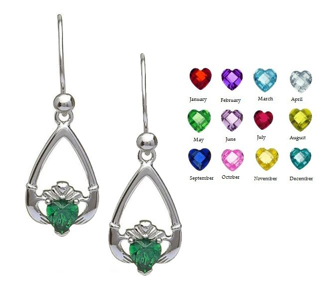 Earrings Boru Sterling Tear Drop Birthstone Claddagh