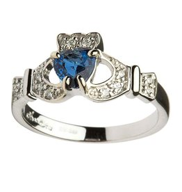 RINGS LADIES 14K DIAMOND & SAPPHIRE CLADDAGH