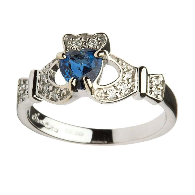 RINGS LADIES 14K DIAMOND & SAPPHIRE CLADDAGH - Irish Crossroads