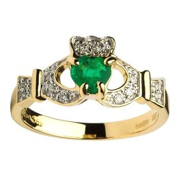 RINGS EMPRESS 14K DIAMOND & EMERALD CLADDAGH