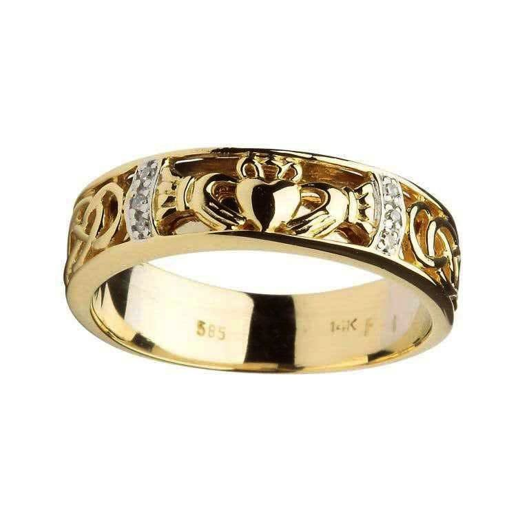 knot gold ring irish wedding celtic diamond rings with