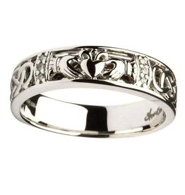 RINGS LADIES CLADDAGH & CELTIC KNOT DIAMOND SET WEDDING RING
