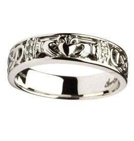 RINGS SHANORE LADIES CLADDAGH & CELTIC KNOT DIAMOND SET WEDDING RING