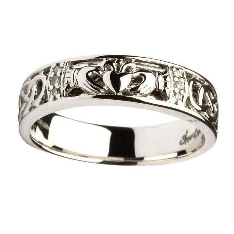 RINGS LADIES CLADDAGH Amp CELTIC KNOT DIAMOND SET WEDDING RING