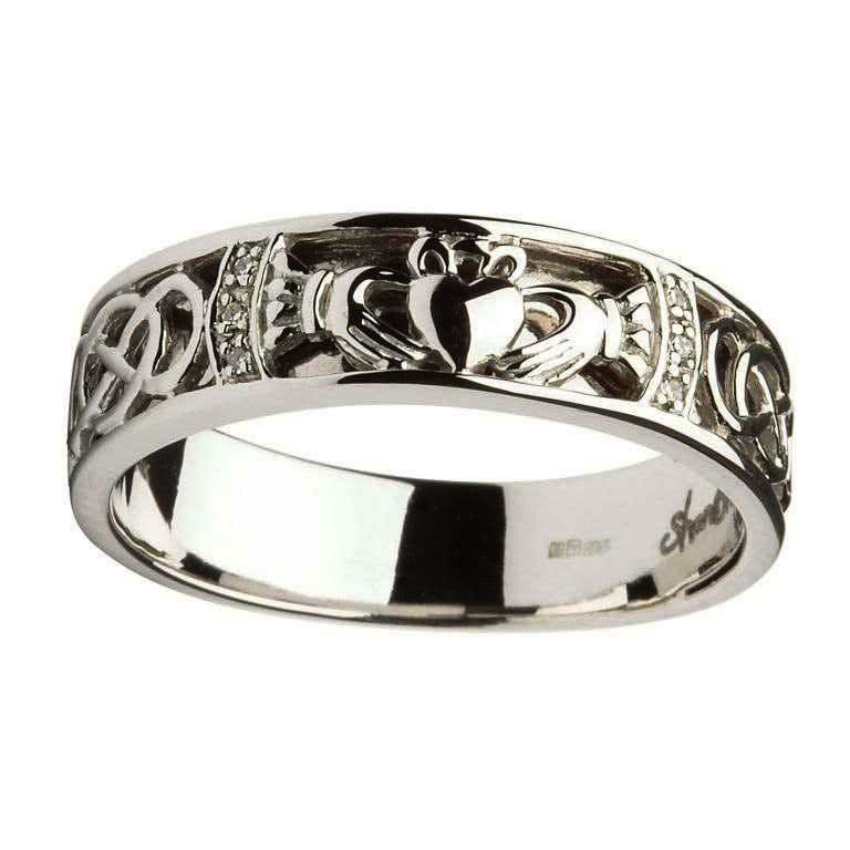 Rings Shanore Gents Claddagh Celtic Knot Diamond Set Wedding Ring