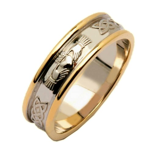 rings fado gents two tone corrib claddagh wedding ring - Claddagh Wedding Rings