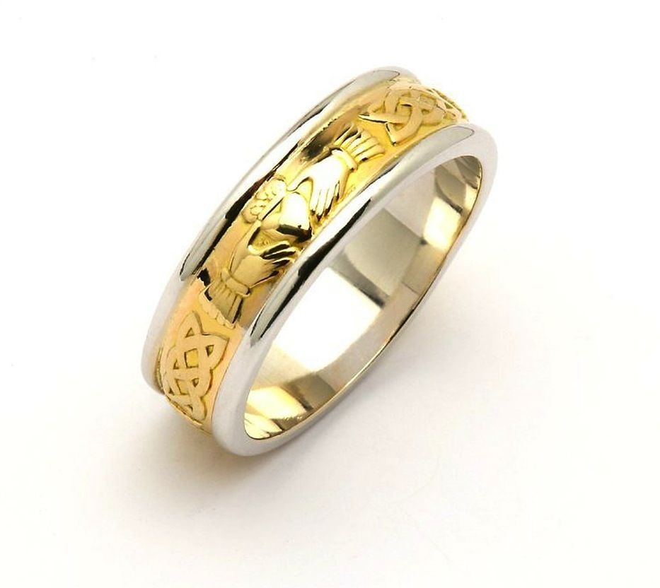 RINGS FADO GENTS TWO TONE CORRIB CLADDAGH WEDDING RING - Irish ...