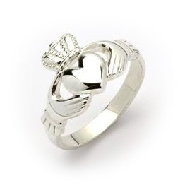 RINGS LADIES HEAVY STERLING CLADDAGH RING