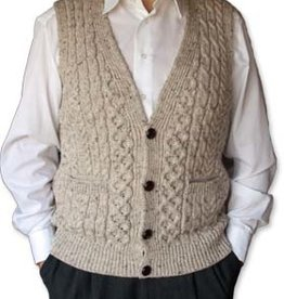 SWEATERS CLEARANCE - IRISH WOOL HAND KNIT CARDIGAN VEST - FINAL SALE