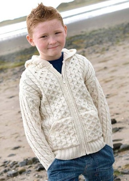 KIDS CLOTHES CHILDREN'S ARAN HOODED ZIP SWEATER