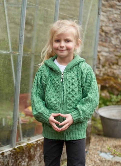 SWEATERS CHILDRENS GREEN HOODED ZIP SWEATER