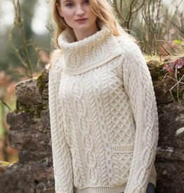 SWEATERS ARAN COWL NECK SWEATER