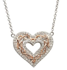 PENDANTS & NECKLACES STERLING SILVER & ROSE GOLD CELTIC HEART PENDANT with SWAROVSKI CRYSTALS