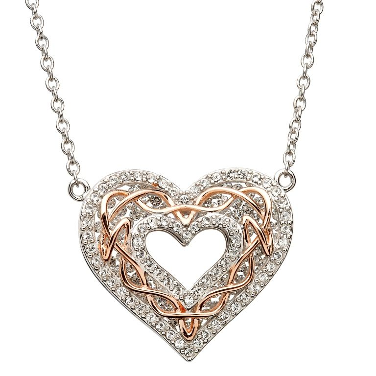 Pendants necklaces sterling silver rose gold celtic heart pendants necklaces sterling silver rose gold celtic heart pendant with swarovski aloadofball