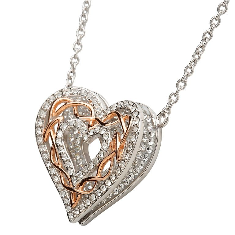 Pendants necklaces shanore sterling rose gold celtic heart pendants necklaces shanore sterling rose gold celtic heart pendant with swarovski aloadofball Image collections