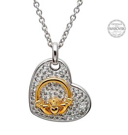 PENDANTS & NECKLACES STERLING PENDANT & GOLD-TONE CLADDAGH with SWAROVSKI CRYSTALS