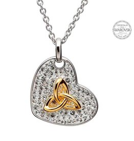 PENDANTS & NECKLACES STERLING PENDANT & GOLD-TONE TRINITY with SWAROVSKI CRYSTALS