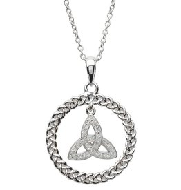 PENDANTS & NECKLACES STERLING SILVER TRINITY CIRCLE PENDANT with SWAROVSKI CRYSTALS