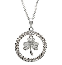 PENDANTS & NECKLACES STERLING SILVER SHAMROCK CIRCLE PENDANT with SWAROVSKI CRYSTALS