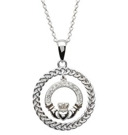 PENDANTS & NECKLACES STERLING SILVER CLADDAGH CIRCLE PENDANT with SWAROVSKI CRYSTALS