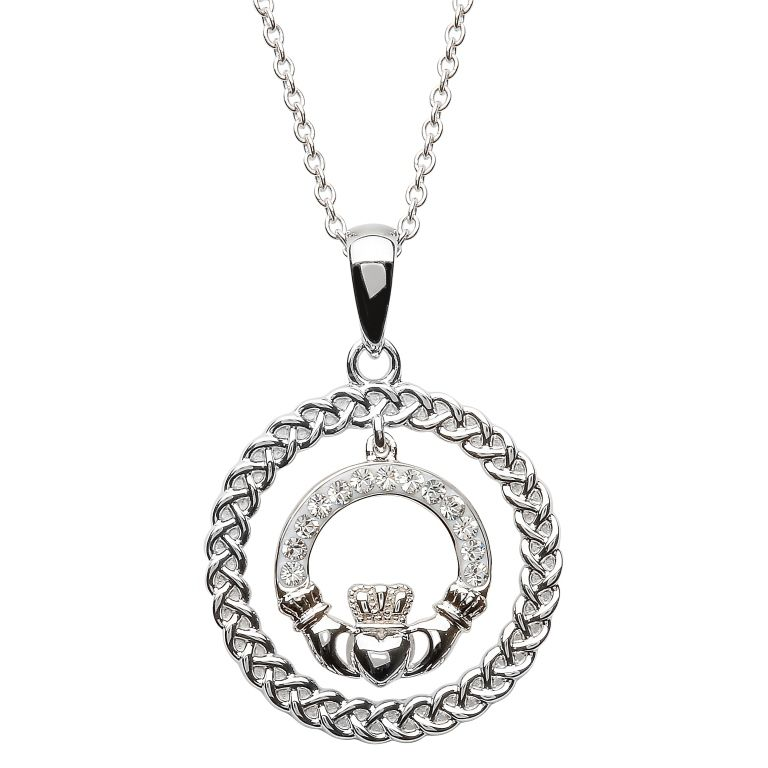 Pendants necklaces sterling silver claddagh circle pendant with pendants necklaces sterling silver claddagh circle pendant with swarovski crystals aloadofball Gallery