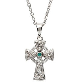 CROSSES STERLING SILVER SMALL CELTIC CROSS with WHITE & GREEN SWAROVSKI CRYSTALS