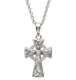 CROSSES STERLING SILVER SMALL WHITE CELTIC CROSS with SWAROVSKI CRYSTALS