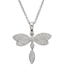 PENDANTS & NECKLACES STERLING SILVER SWAROVSKI CRYSTAL DRAGONFLY PENDANT