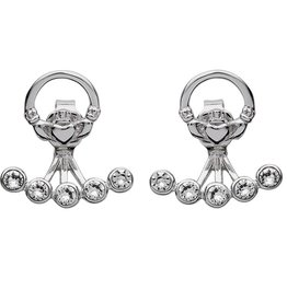 EARRINGS STERLING SILVER SWAROVSKI CRYSTAL CLADDAGH EARRINGS
