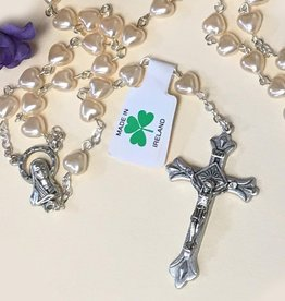 ROSARIES & JEWELRY IRISH PEARL HEART ROSARY BEADS