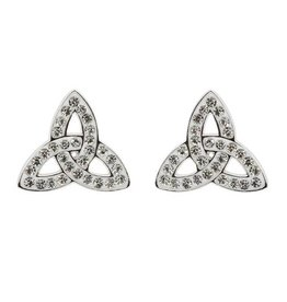 EARRINGS STERLING SILVER TRINITY POST EARRINGS adorned with SWAROVSKI CRYSTALS