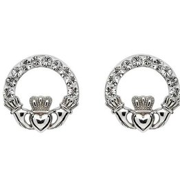 EARRINGS STERLING SILVER CLADDAGH POST EARRINGS adorned with SWAROVSKI CRYSTALS