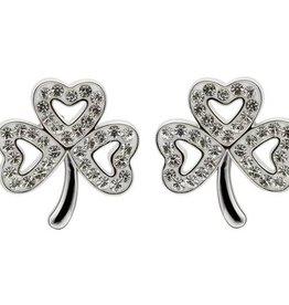 EARRINGS STERLING SILVER SHAMROCK POST EARRINGS adorned with SWAROVSKI CRYSTALS