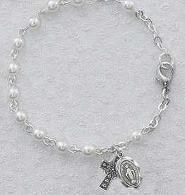 ROSARIES & JEWELRY STERLING SILVER CELTIC  PEARL BRACELET