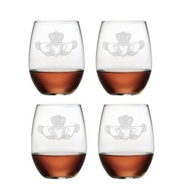 KITCHEN & ACCESSORIES CLADDAGH STEMLESS WINE 21oz GLASSES (4)