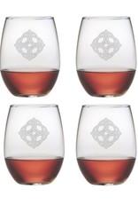 KITCHEN & ACCESSORIES CELTIC KNOT STEMLESS WINE 21oz GLASSES (4)
