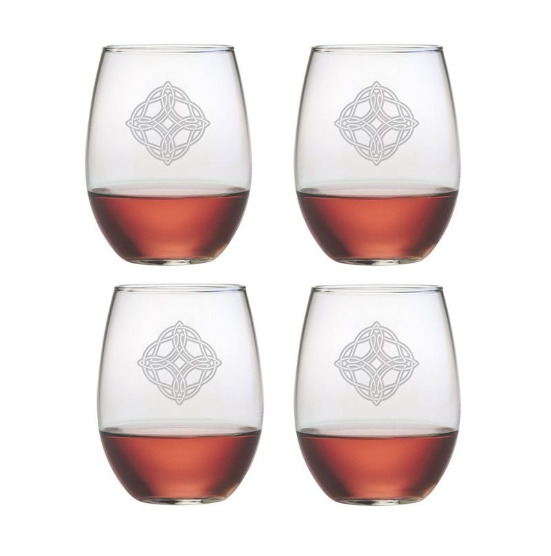 KITCHEN & ACCESSORIES CELTIC KNOT STEMLESS WINE 21oz GLASSES (4)