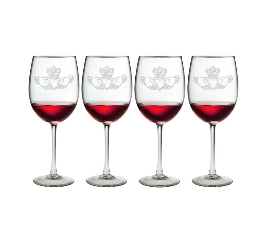 KITCHEN & ACCESSORIES CLADDAGH CACHET WINE 19oz GLASSES (4)