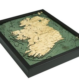 PLAQUES & GIFTS IRELAND 3-D NAUTICAL MAP WOODEN PLAQUE