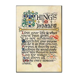 """PLAQUES, SIGNS & POSTERS """"THINGS TO REMEMBER"""" 12X18 CONTEMPORARY MANUSCRIPT"""