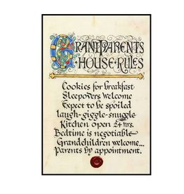 "PLAQUES & GIFTS ""GRANDPARENTS HOUSE RULES"" 12X18 CONTEMPORARY MANUSCRIPT"