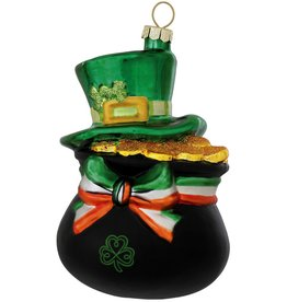 ORNAMENTS POT OF GOLD with IRISH HAT ORNAMENT