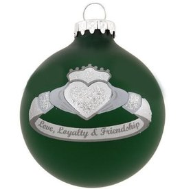 ORNAMENTS SILVER & GREEN CLADDAGH RING ORNAMENT