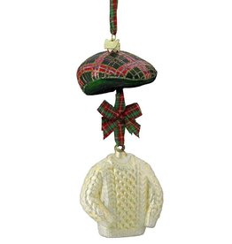 ORNAMENTS IRISH SWEATER & CAP ORNAMENT
