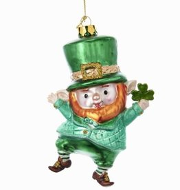 ORNAMENTS DANCING LEPRECHAUN GLASS ORNAMENT